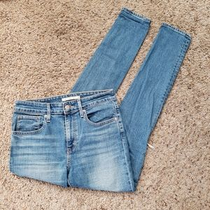 Levis 721 High Rise Skinny Distressed Knee Jeans